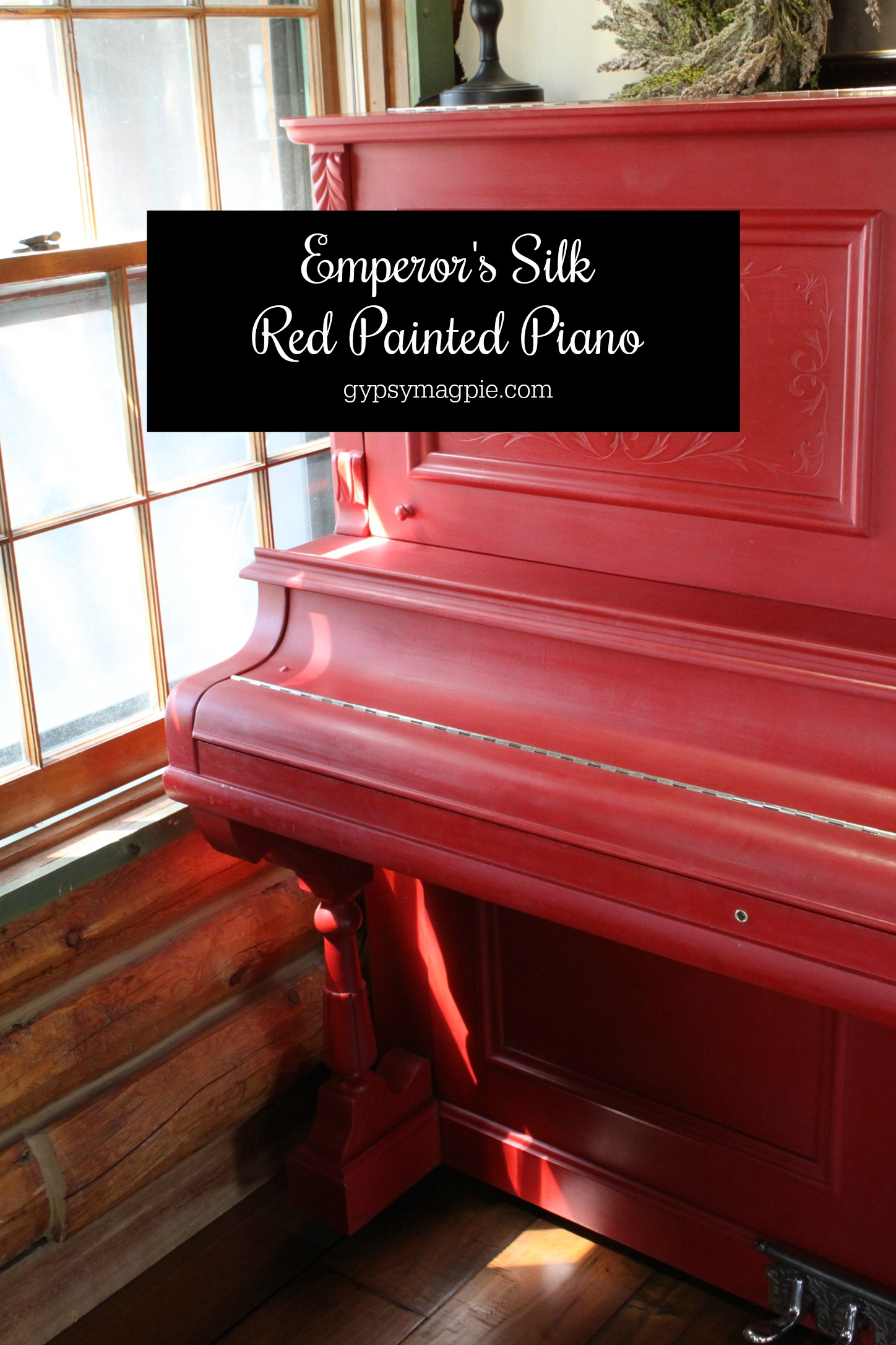 Emperor's Silk red painted piano by Gypsy Magpie