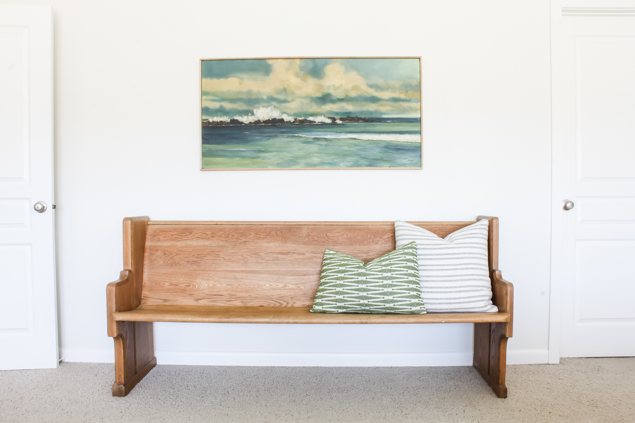 Grandpa's church pew fits perfectly with the old SUU Institute landscape painting | gypsy magpie