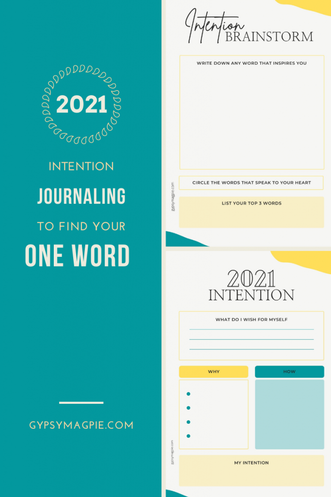 Intention journaling to help you find your one word for 2021 | gypsy magpie