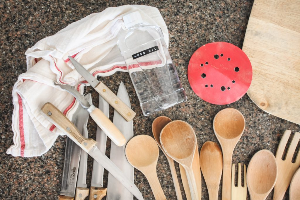 Prepping for oiling wooden spoons | gypsy magpie
