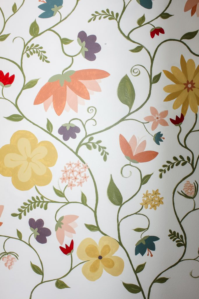 Close up of a floral wall mural | gypsy magpie