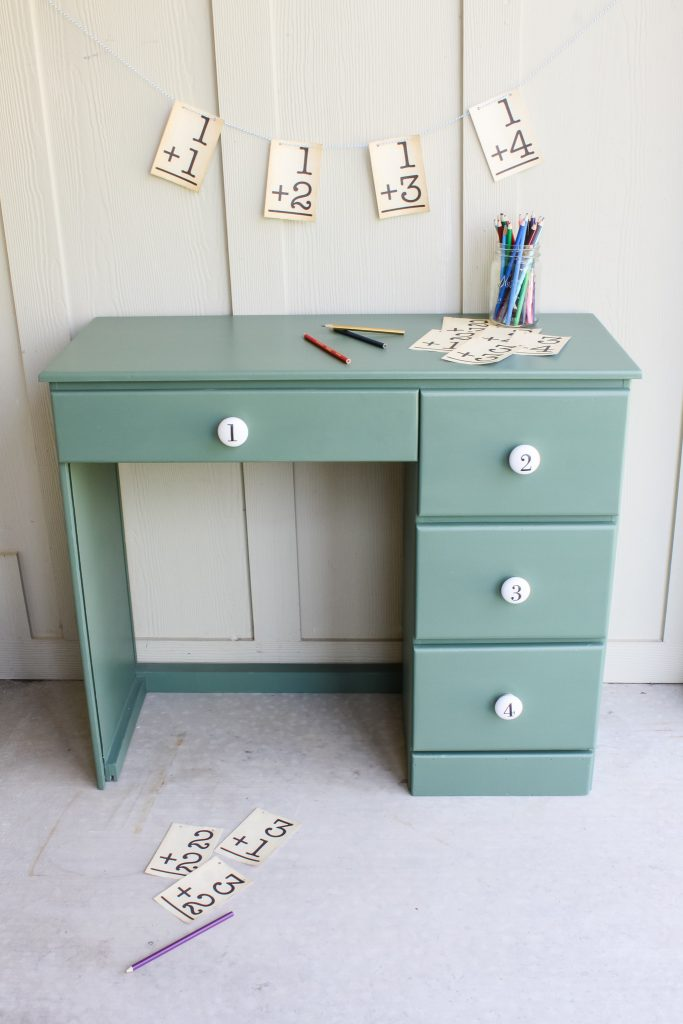 A darling little desk given new life with a fresh coat of green paint and ceramic hardware | gypsy magpie
