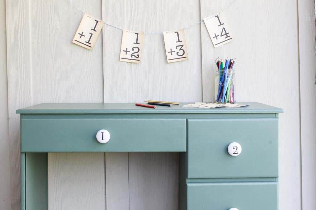My childhood desk given new life with fresh paint and fun hardware | gypsy magpie