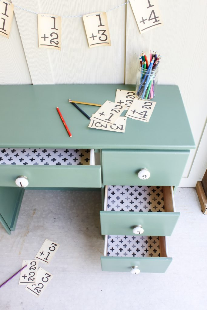 Palm Leaf green paint and fun paper update this 80s childrens desk | gypsy magpie