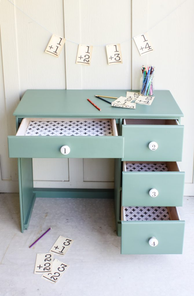 Gift wrap for drawer liners bring the fun to this little desk makeover | gypsy magpie